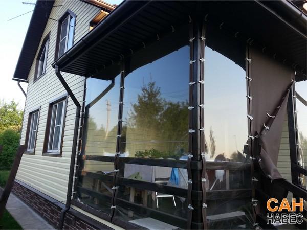 Веранда - уличные шторы ПВХ + тентовая ткань